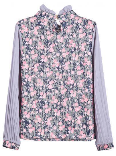 Pink Floral Ruffle Collar Lace Chiffon Blouse