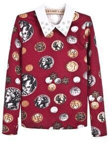 Red Bead Lapel Long Sleeve Coins Print Blouse