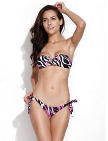 Black Pink Zebra Print V Wire S traplessBandeau Bikini Swimwear