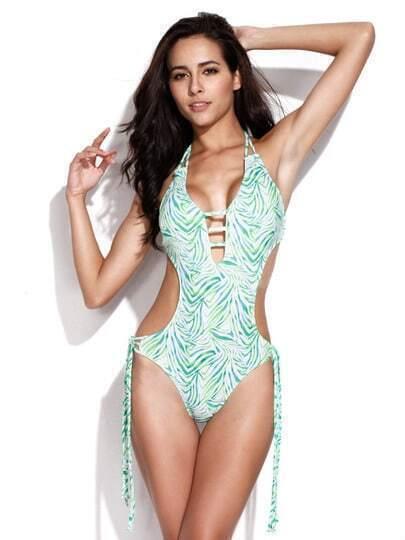 Green Zebra Print Fringe One Piece Swimsuit