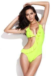 Neon Green Asymmetric Style Cut Out One Piece Ruffle Trim Swimsuit