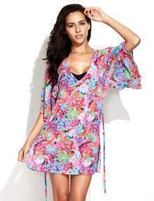 Digital Floral Print Beach Dress Beachwear