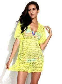 Neon Yellow Crochet Tunic Beach Dress with Drawstring at Waistline