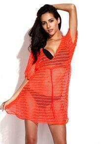 Neon Orange Crochet Tunic Beach Dress with Drawstring at Waistline Newest Modern Sexydress Swimdress