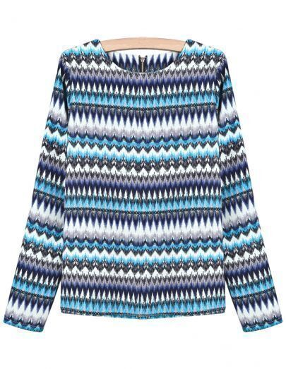 Blue Long Sleeve Geometric Print Chiffon Blouse
