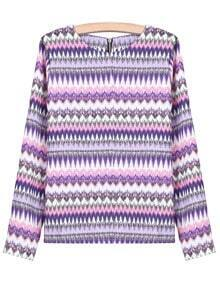 Purple Long Sleeve Geometric Print Chiffon Blouse