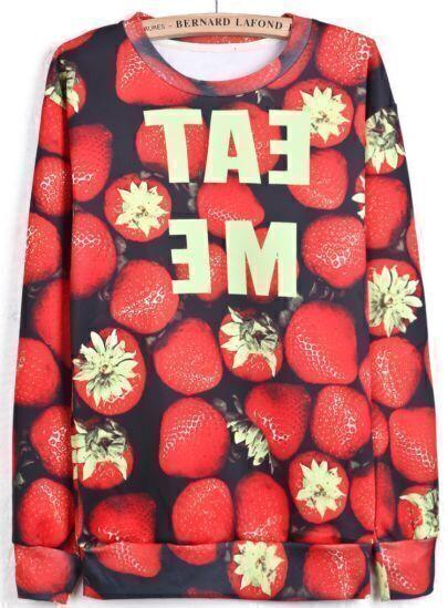Red Long Sleeve Strawberries Letters Print Sweatshirt