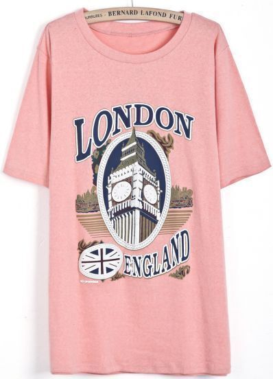 Pink Short Sleeve LONDON Clock Print T-Shirt