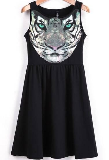 Black Sleeveless Tiger Print Ruffle Dress