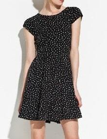 Black Short Sleeve Stars Print Backless Dress