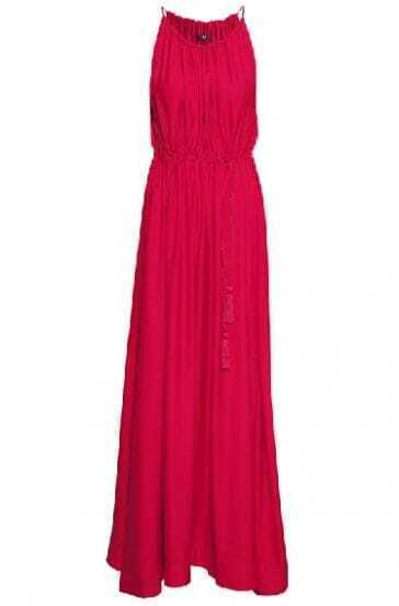 Red Spaghetti Strap Pleated Full Length Dress