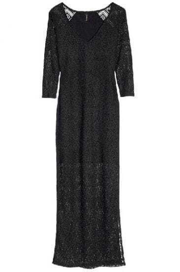 Black V Neck Hollow Lace Split Dress