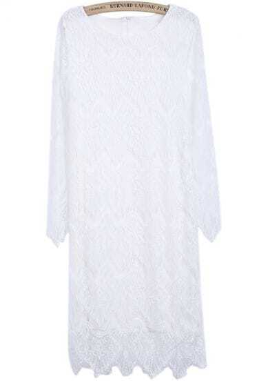 White Long Sleeve Zipper Hollow Lace Dress