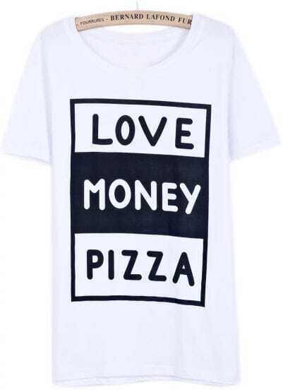Camiseta LOVE MONEY PIZZA manga corta-blanco