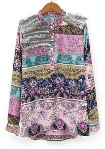 Pink Stand Collar Contrast Rabbit Fur Floral Blouse