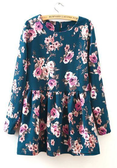 Green Round Neck Long Sleeve Floral Pleated Dress