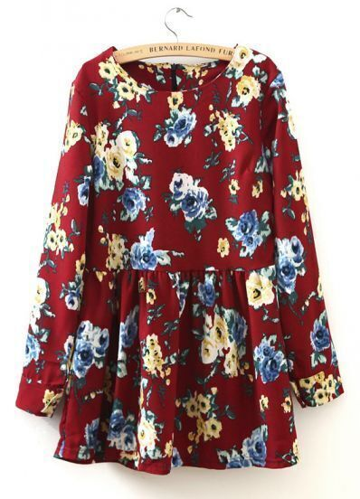 Wine Red Round Neck Long Sleeve Floral Pleated Dress