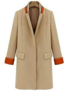 Yellow Stand Collar Long Sleeve Pockets Coat