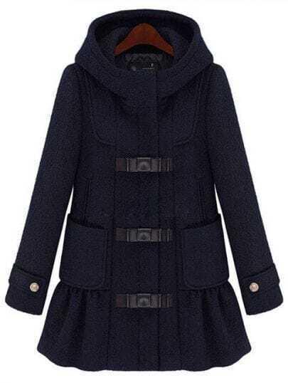 Black Hooded Long Sleeve Ruffle Woolen Coat