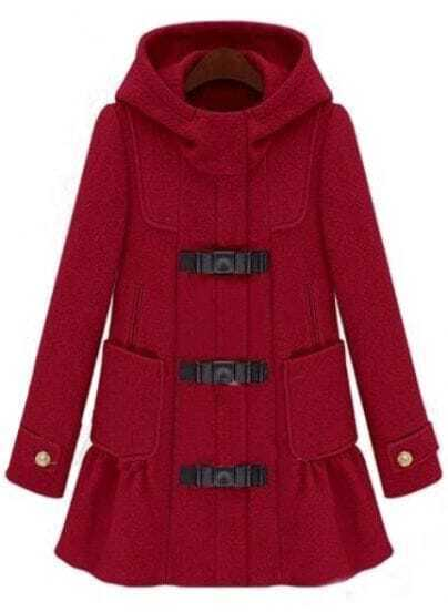 Red Hooded Long Sleeve Ruffle Woolen Coat