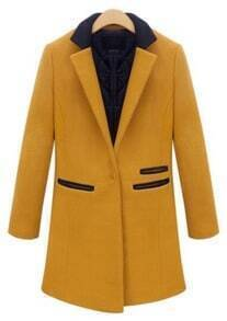 Yellow Contrast Lapel Long Sleeve Woolen Coat
