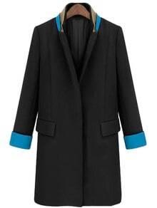 Black Stand Collar Long Sleeve Pockets Coat