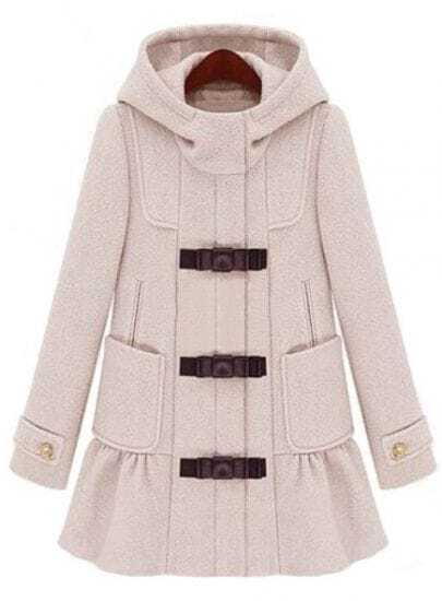 Beige Hooded Long Sleeve Ruffle Woolen Coat