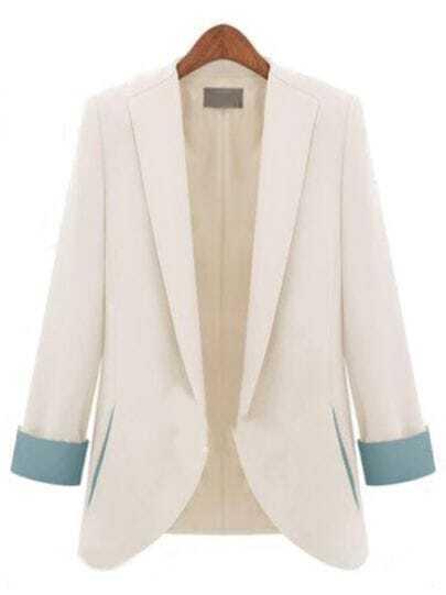 White Long Sleeve Slim Fashion Blazer