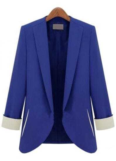 Blue Long Sleeve Slim Fashion Blazer