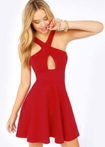 Red Cross Front Ruffle Dress