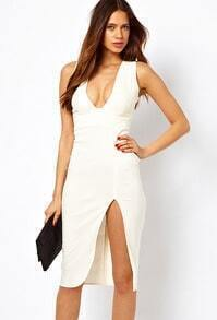 White Sleeveless V Neck Split Dress