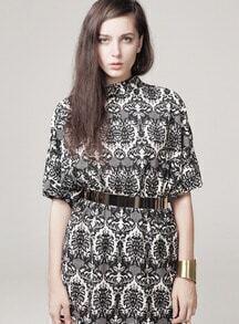 Black Three Quarter Sleeve Vintage Pattern Dress