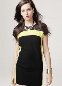 Black Contrast Yellow Lace Dress