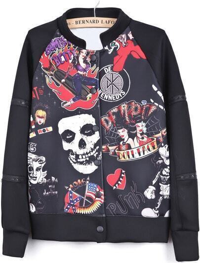 Black Long Sleeve Zipper Skull Print Jacket