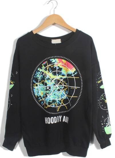 Black Long Sleeve Earth Print Loose Sweatshirt