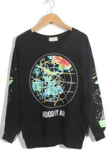 Black Long Sleeve Earth Print Loose Sweatshirt
