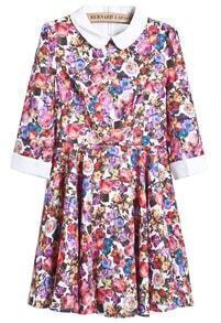 Multi Long Sleeve Floral Slim Pleated Dress