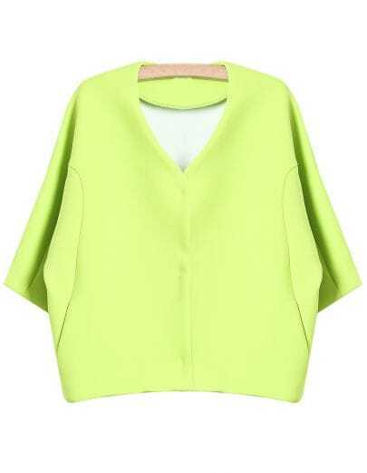 Green V Neck Simple Design Crop Coat