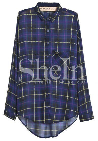 Royal Blue Long Sleeve Plaid Dipped Hem Chiffon Blouse