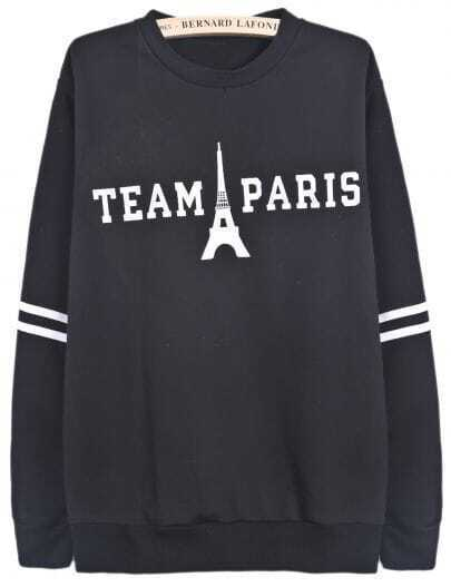 Black Long Sleeve TEAM PARIS Pagoda Print Sweatshirt