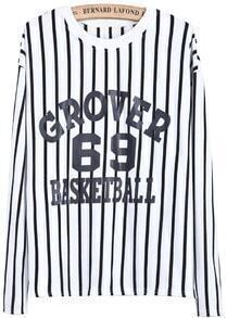 White Vertical Stripe Letters 69 Print Sweatshirt