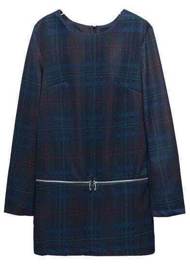 Navy Long Sleeve Plaid Zipper Straight Dress