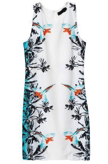 Blue White Sleeveless Floral Birds Print Dress