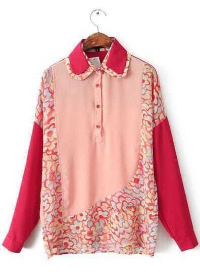 Pink Lapel Contrast Asymmetrical Floral Blouse