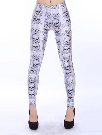 White Slim Skull Print Pencil Leggings