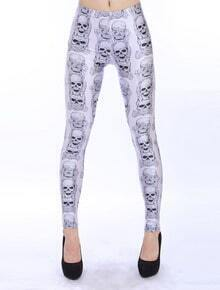 White Slim Skull Print Pencil Leggings