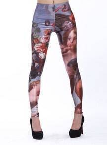Blue Vintage Floral Girl Print Leggings