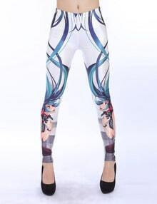 White Slim Girl Print Pencil Leggings