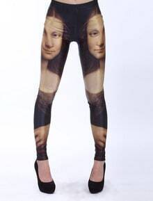Black Elastic Mona Lisa Print Leggings