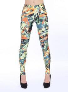 Green Yellow Graffiti Print Pencil Leggings